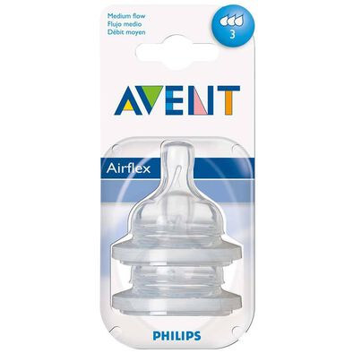 Philips Avent 2 Pack Teats Medium Flow 3 Hole
